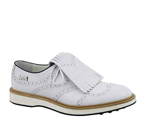 Gucci Brogue Fringed White Leather Oxford Golf Shoes 368438 9014 (10 G / 10.5 US)