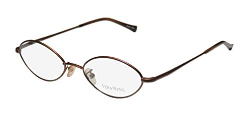 Vera Wang V15 Womens/Ladies Rxable Upscale Designer Designer Full-rim Flexible Hinges Eyeglasses/Eye Glasses (48-19-135, Chocolate)