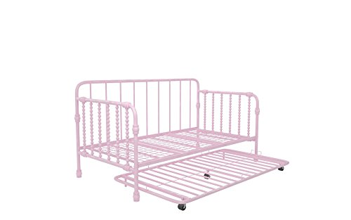 Little Seeds Monarch Hill Wren Metal Daybed with Trundle, Sofa Bed, Twin Size Frame, Pink