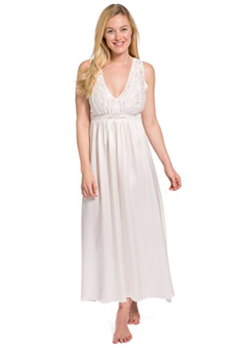 (Fishers Finery Women's 100% Mulberry Silk Long Nightgown; Lace Bodice (Ivory,)