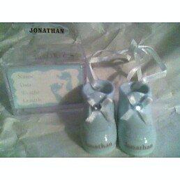 Personalized Porcelain Baby Boy Booties - BRENDAN ()