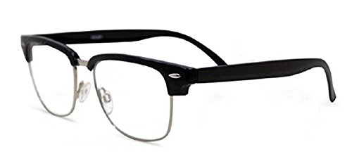 Semi Rimless Metal Clear Bifocal Reading Glasses - Black 2.00
