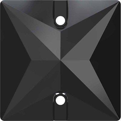 3240スワロフスキーSew Onクリスタル正方形 ジェットヘマタイトUnfoiled   16 mm – 3240正方形ストーン 小&卸売パック  Free Delivery   B077C1G26K
