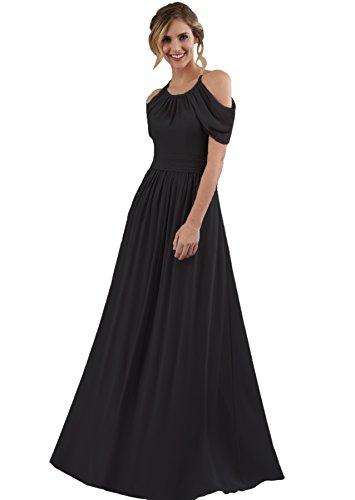 Women's Halter Wedding Evening Dress Long Chiffon Off The Shoulder Bridesmaid Dress Maxi Black Size 20