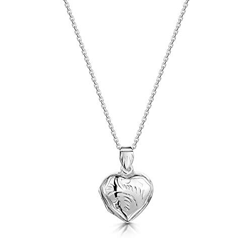 Amberta 925 Sterling Silver - Heart Shape Pendant - Engraved Opening Locket for Women - for Birthstone Charm or Photo
