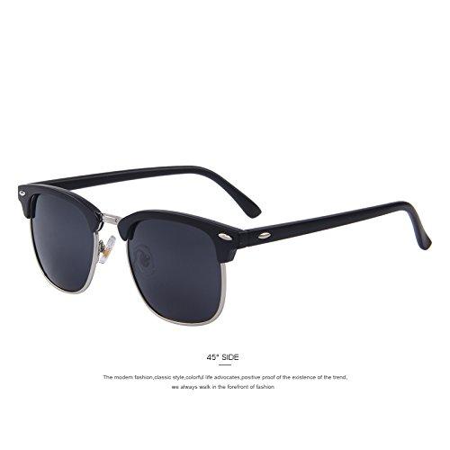 gafas de Silver C05 TIANLIANG04 nuevo sol polarizadas remache gafas de black sol UV400 Hombres Unisex Matte de clásico C03 SZSaX8