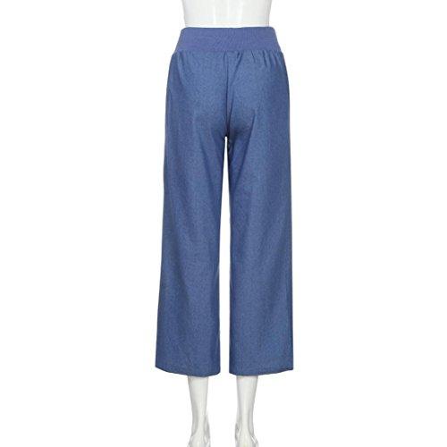 Denim Haute Jean TiaQ lasticit Droit Pantalon Pantalon Pantalons Casual Large Taille Femme Jeans Bleu w68Zq
