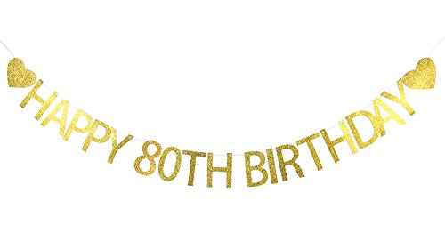 LOVELY BITON™ Gold happy 80th birthday Banner Decoration Kit Themed Party Banner for Birthday Wedding Showers Photo Props Window (80 Themed Cake)