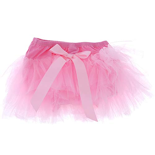 Attitude Studio Baby Bloomer, Ruffled Lace Diaper Cover, Tulle Tutu Ribbon Skirt, Cotton Panty Lined Bottom, Angel Fairy Butterfly Birthday Outfit, Photo Shoot Clothes, Size XS for 0-12 mo - Pink