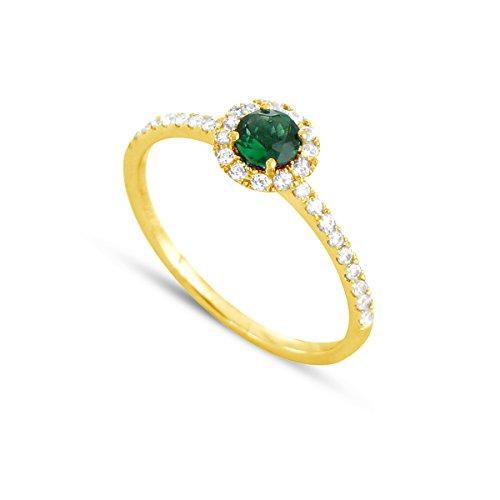 Tousmesbijoux Bague en Or jaune 750/00 diamants et émeraude
