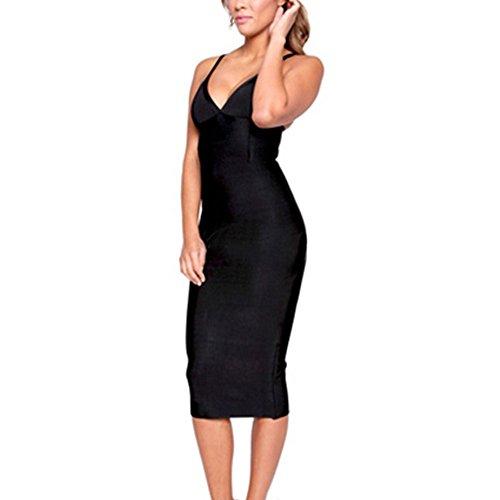 HLBandage Deep V Neck Spaghetti Strap Midi Bandage Dress Negro