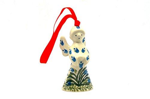 (Polish Pottery Ornament - Angel - Blue Bells)