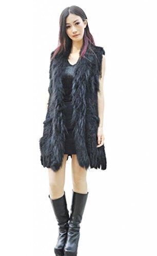 CX FUR Women's Hand Knitted Rabbit Fur Vest ,Black -