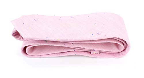 Men's Cotton Skinny Necktie Tie Bright Rainbow Nep Chambray Pattern - Pink by Proper Materials (Image #1)