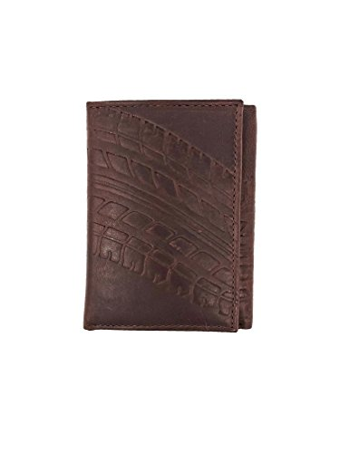 Embossed Tire Track Genuine Leather Wallet Trifold - RFID Blocking ()
