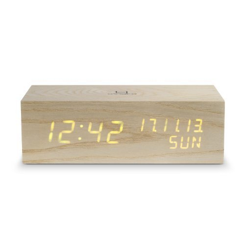 Gingko Music Table Clock Block ~ Finish: Oak / Orange by Gingko