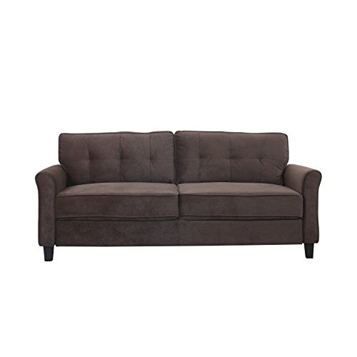 Classic Ultra Comfortable Brush Microfiber Fabric Living Room Sofa (Brown)