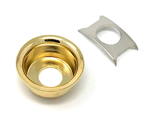 (Gold Cup Jack Plate for Fender Telecaster Tele Guitar Recessed Output Ferrule by VINTAGE FORGE | JPT90-GLD)