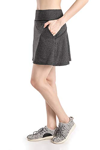 (Annjoli Womens Running Tennis Golf Workout Skirt with Pockets (L, Gray))