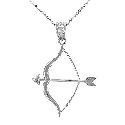 Collier Femme Pendentif Poli 10 Ct Or Blanc Arc et Flèche (Livré avec une 45cm Chaîne)