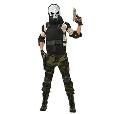 Boy's Skull Military Costume Skull Soldier Costume for Kids: Clothing