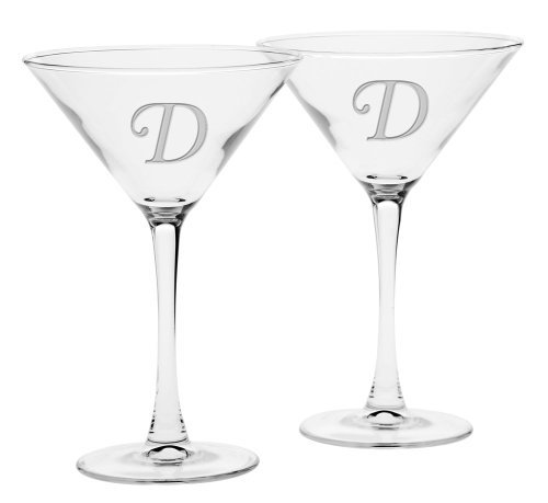 Culver Deep Etched Martini Glass, 7-1/4-Ounce, Monogrammed Letter-D, Set of 2 by Culver