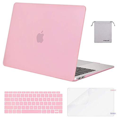 MOSISO MacBook Air 13 inch Case 2020 2019 2018 Release A2179 A1932 with Retina Display, Plastic Hard Shell&Keyboard Cover&Screen Protector&Storage Bag Compatible with MacBook Air 13, Pink