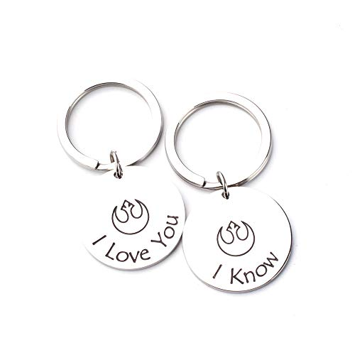 Anlive Star Wars Inspired I Love You, I Know Keychain Set Valentines Gift (Silver)