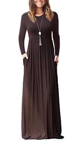 DEARCASE Women's A-line Swing Maxi Dresses Long Sleeve Long