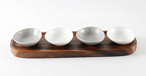 Kitchen Malling Condiment Relish Dish Bowl Mini Pottery Sauce Bowls and Wood Tray Set Dipping Ketchup Candy Nuts Snack Dish Grids - all kinds of condiment dishes (4 Pieces Set)