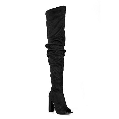 Mark En Maddux Xanthe03 Peep Toe Dames Over De Knie Hoge Hak Laarzen In Zwart