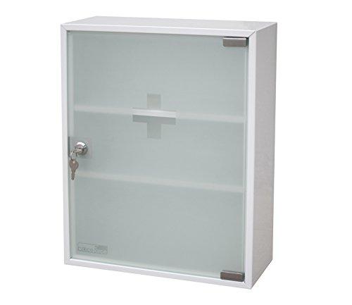 OfficeForce Medikamentenschrank aus Metall, Medizinschrank mit Glastür 360x450x150mm (20097)