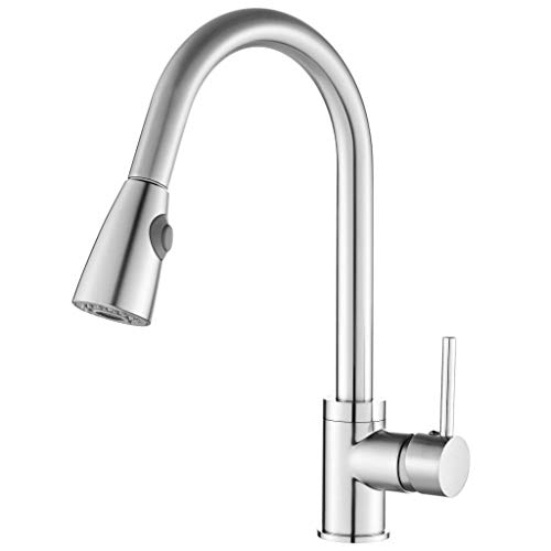 Commercial Kitchen Single Handle Faucet-Dual Spray Function- Arc Pull Down Sprayer Faucet Brushed Nickel Commercial Kitchen Sink Faucet