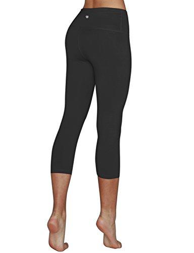 Yoga Reflex Women's High Waist Tummy Control Sports Running Yoga Capris Hidden Pocket (S-3XL) , Black , XX-Large
