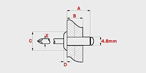 10mm Black Open Dome Aluminium Steel Blind Pop Rivets Choose Length 4.8mm x 50