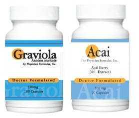 Free Acai, 500mg, 90 capsules w / Graviola 500 mg, 100 capsules, Positve humeur et détente - Approuvé par le Dr Ray sahélienne, MD