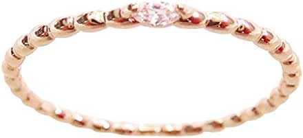 18K Delicate and Dainty CZ Crystal Gem Stackable Ring for Women - Rose Gold / White Gold Plated (Size 3-9)