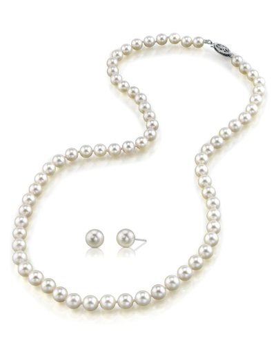 "14K Gold Japanese Akoya White Cultured Pearl Necklace & Earrings Set, 18"" Princess Length AAA Quality"
