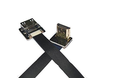 Soft Flat Slim Thin HDMI FFC FPV HDMI Cable Standard HDMI Female Plug to Standard HDMI Male 90 Degree Raspberry Gimbal rig Aerial Shooting FPV Black (20CM)