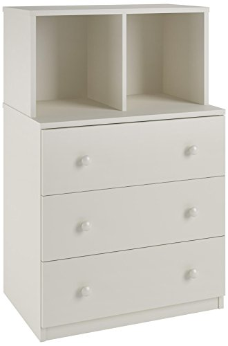 - Ameriwood Home Skyler 3 Drawer Dresser with Cubbies, White