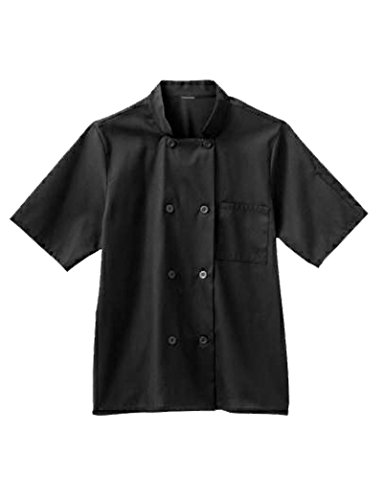 Five Star Chef Apparel Men's Moisture Wicking Mesh Back Coat (Black, (Cotton Mens Chef Coat)
