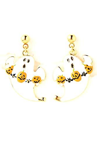 Halloween Pumpkin Decorated Ghost Earrings For Women / AZERFH083-GWH-HAL