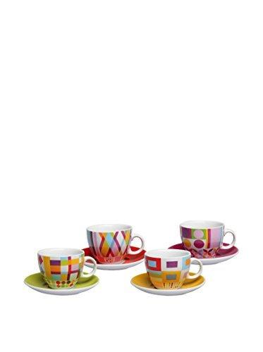 Tognana 4-Piece Iris Polychrom Tea Cup and Saucer Set, White by ()
