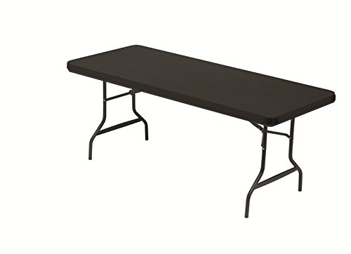 Iceberg 16621 Stretch Fabric Table Top Cap Cover, Polyester/Spandex, Black, 6 Feet