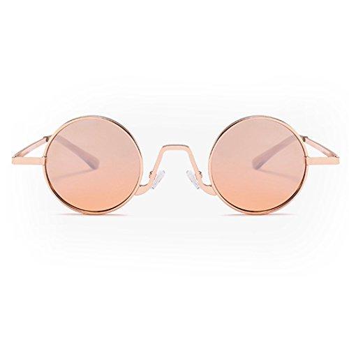 Lens Moda Metálica De Sol De Fansport para Gafas Redondas Champagne De Sol Montura Circle con De Sol Gafas Gafas Viajar q61aqw