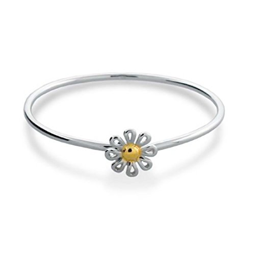 Bangle Daisy - Delicate Two Tone Gold Plated Daisy Flower Bangle Bracelet For Women For Girlfriend 925 Sterling Silver