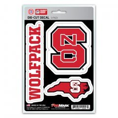 NCAA North Carolina State Wolfpack Team Decal, 3-Pack