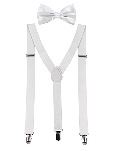 Satinior Suspender Bow Tie Set Clip On Y Shape Adjustable Braces, Suspenders Pant Braces Adjustable Shoulder Straps for Men, Women, Children (White)]()