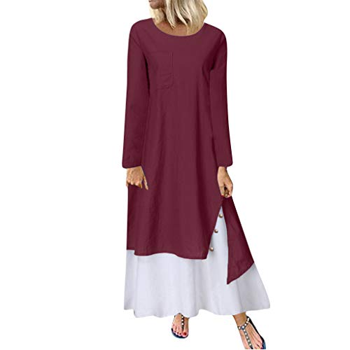 (DONTAL Women Plus Size Casual Loose Long Sleeve Button Daily Solid Lady Long Maxi Dress Wine)