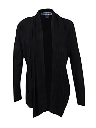 Karen Scott Womens Plus Cable Knit Long Sleeve Cardigan Sweater Black 1X